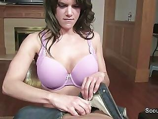 Mother Caught Him And Helps With Blowjob In Pov To Cum