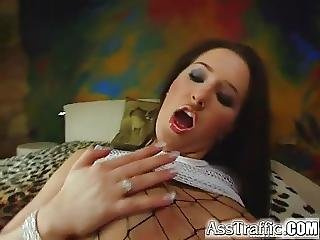 Ass Traffic Brunette In Fishnets Loves Anal Fucking And