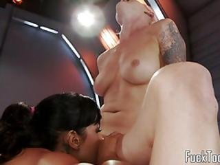Submissive Lesbo Stuffed With Dildos