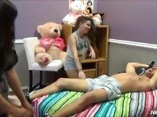 Two Girls Tied Up Guy And Flash Dick