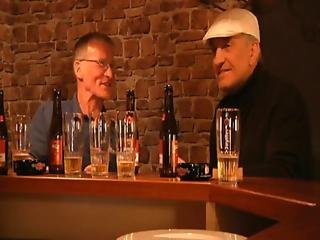 Young Barmaid At Work Fucks With Two Drinkers Older Men
