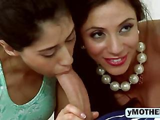 Milf Ariella And Teen Angel Sucking Dong Threesome