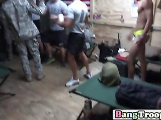Soldiers Are Awakened By Their Superior Who Makes Them Do Push Ups And Different Excercises Before Luring Them Into A Hor Orgy Where They Will All Be Fucked Up The A Hole Til They Cum