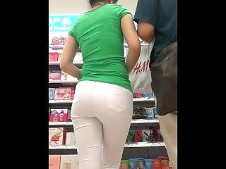 Beautiful Japanese Shopping White Tight Pants