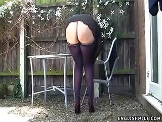 Ass, Booty, British, Butt, Chubby, Flashing, House, Housewife, Milf, Nylon, Outdoor, Panties, Public, Sexy, Skirt, Stocking, Upskirt, Voyeur, Wife