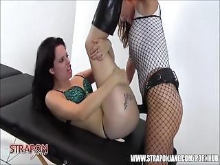 Horny Lesbian Slut Feels Every Inch Big Strapon Cock In Tight Little Pussy