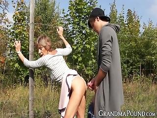 Lustful Granny Fucked By Younger Dude In The Country Side! She Wanted To Get Fuck Right There And Then And That Is Exactly What She Got!