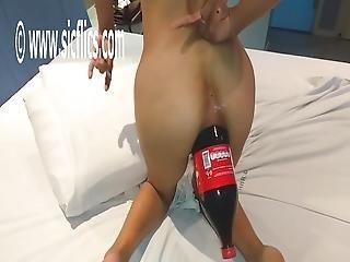Giant Anal Cola Bottle Fucked Amateur