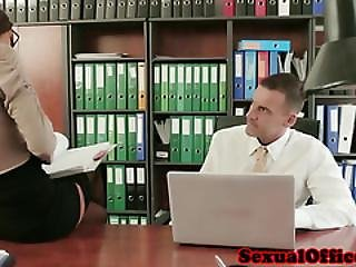 Office Secretary In Stockings Fucked On Desk