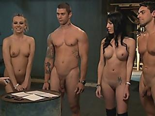 Nasty Sluts Horny 4some In The Jailcell With Horny Men