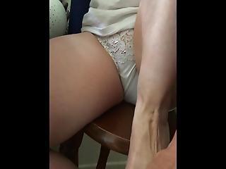 Teasing In White Lacy Panties