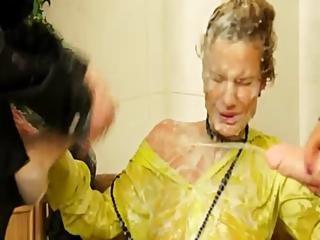 Fetish Slime Shower Lesbians Gets Bukkake