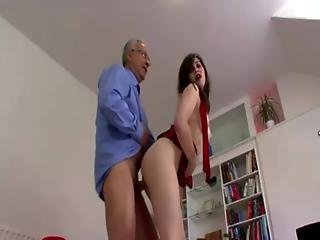 Tight Ass Teen Slut Gets Down To Riding Old Cock On Couch