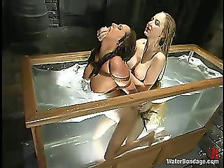A Admirable Tormentor Knows That Lesbo Prisoners Like Water Games!