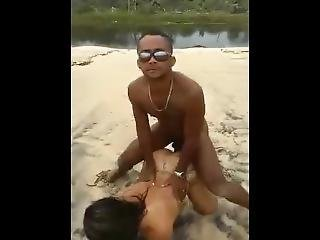 Beach Interracial Threesome