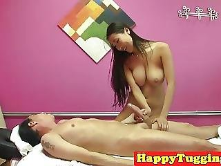 Bigtitted Asian Masseuse Tugs While Fingered