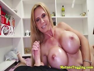 Huge Titted Stepmom Wanks Pov Cock Till Cum