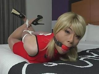 Asian Crossdresser Gagged And Hogtied