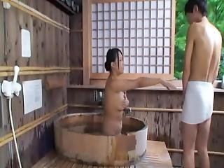 Bosomy Japanese Milf Has Got Laid From Backside Inside The Sauna
