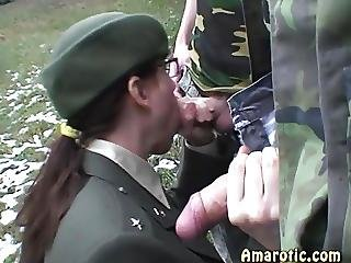 Army, Blowjob, Brunette, Cumshot, Groupsex, Military, Sex