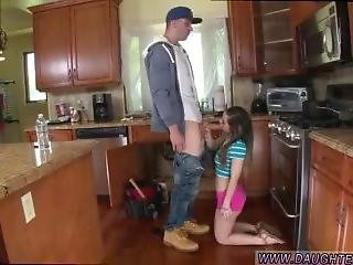 Cute Amateur Teen Sucks The Plumber Gets His Pipe Cleaned