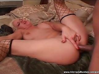 Blonde Bitch Gives All Holes To Horny Black Man