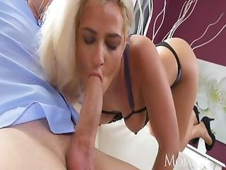 Mom Mature Blonde In High Heels Takes Belly Load Of Cum From Fat Cock