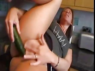 Big Boob, Boob, Butt, Cucumber, Kitchen, Masturbation, Mature, Sex, Toys
