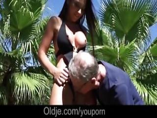 Wet Shaved Pussy Licked And Fucked By Step Dad Huge Old Cock