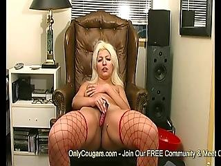 Chunky Mature Cougar In Fishnet Stockings And Thong Panties Masturbates On Webcam