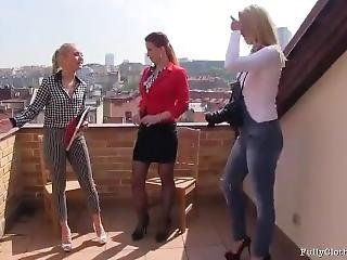 Victoria Puppy Rooftop Lesbian Threesome