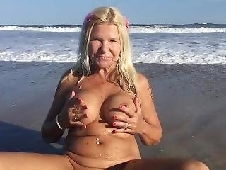 Naked And Not Afraid On The Beach.
