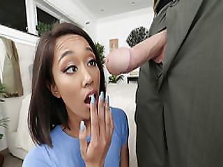 Petite Teen Aria Skye Tiny Mouth Sucks Extra Huge Cock