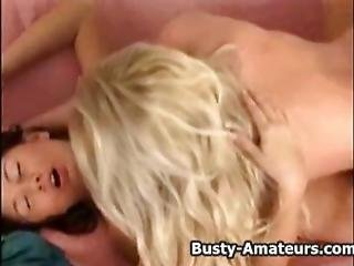 Busty Amateur Paris And Christine On Hot Lesbian Foreplay