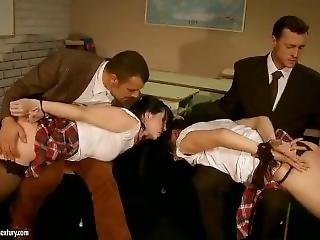 Sexy School Girls Roughly Punished, Spanked, And Fucked In The Classroom I