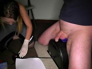 Latex Glove Wank Cum