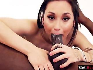 Horny Brunette Slut In Stockings Gets Hammered By A Monster Bbc
