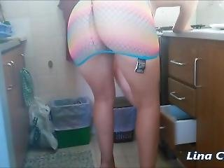 Sexy Milf In See Through Fishnet Minidress Upskirt Thong Flashing !
