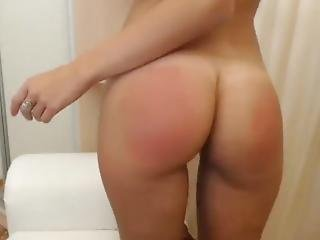 Webcam Private - Beautiful Teen With Sexy Tan Lines Spanks Her Ass Red