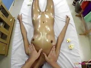 Skinny Oriental Allows Masseur To Roam Her Naked Body