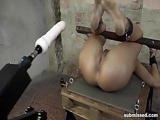 Hot Brunette Babe Hogtied And Fucked By Machine