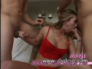 Sex Addicted Cougar Aline Grabs Two Cocks And Lubes Them Both For The Double Pen