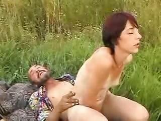 Sexy Babe With Gorgeous Juggs Rides Homeless Old Geezer