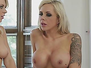 Tara Morgan Blonde Dildo Lesbian Anal Toy Tattooed