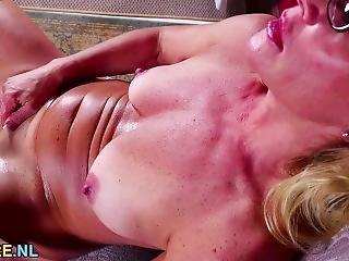 Blonde Milf In Glasses Undressing And Masturbating