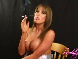 British Model Smoking Naked