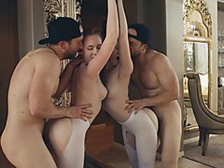 Busty Brunette Mouth Fucked By Her Babe