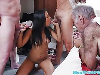Voyeur Grandpas Enjoying Teen Pussy Drilling
