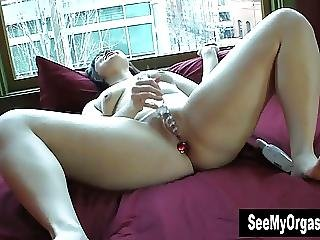 Horny Sarah Masturbating At The Window