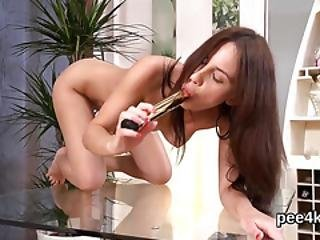 Adorable Chick Is Pissing And Masturbating Smooth Cunt